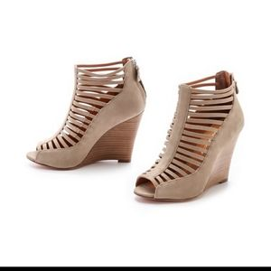 Rebecca Minkoff Sydney wedges tan suede leather